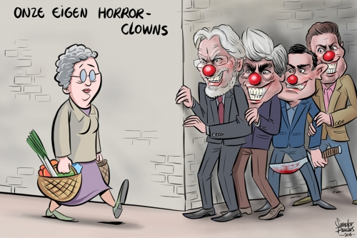 cartoon, son en breugel, college, clown, horrorclowns, dorp
