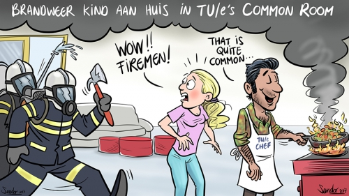 cartoon, curtoon, TUeindhoven, TUe, brandweer, commonroom, metaforum, koken, rookmelder, rook