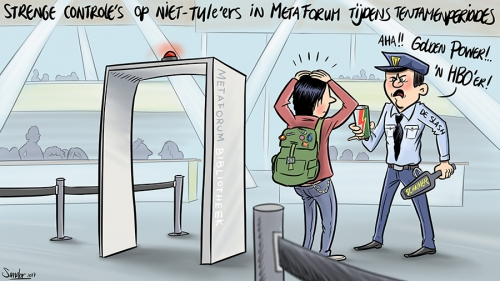 cartoon, tekening, tue, tueindhoven, metaforum, hbo, douane, douanepoort, controle