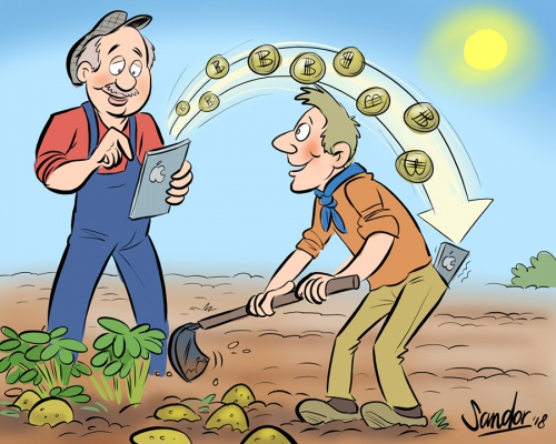 cartoon, illustratie, agf, agfprimeur, agro, boer, farmer, tekening, drawing, zeihnung, illustration