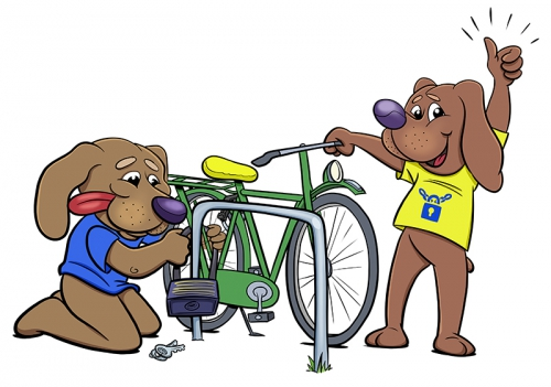 son en breugel, senb, sonnie en bonnie, illustratie, illustration, fiets, fietsveilig